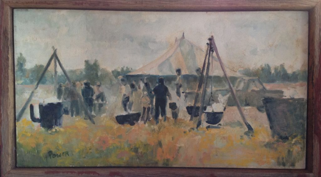 Painting of an early Fish Boil