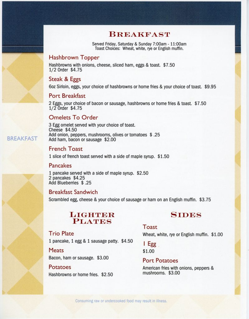 Port Bar - Breakfast Menu