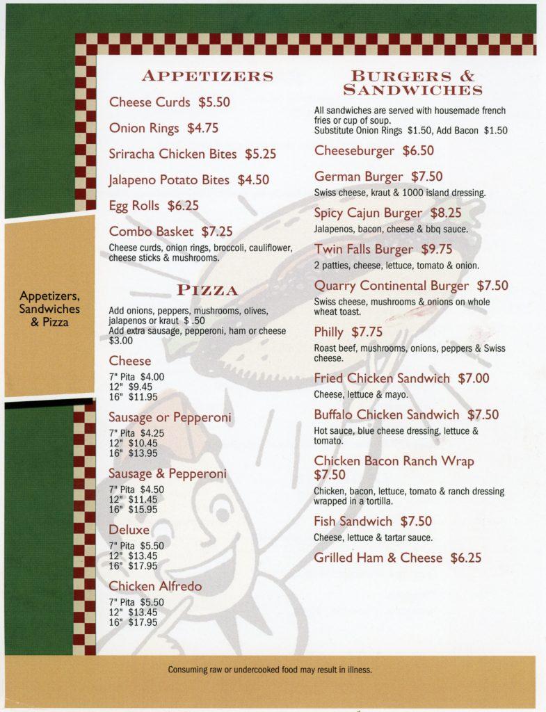 Port Bar - Pizza/Sandwich Menu