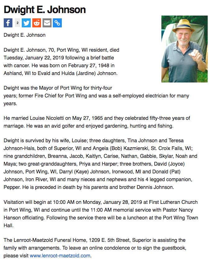 Dwight Johnson Obituary