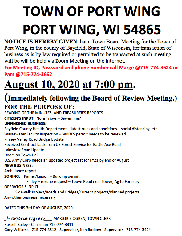 Port Wing Town Meeting Notice